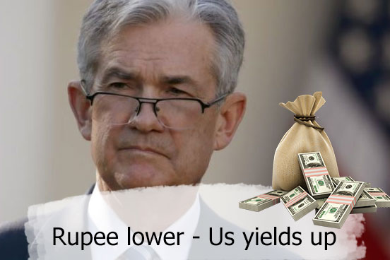Rupee lower as hawkish ECB talks send US yields up