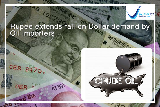 Rupee extends fall on Dollar demand by Oil importers