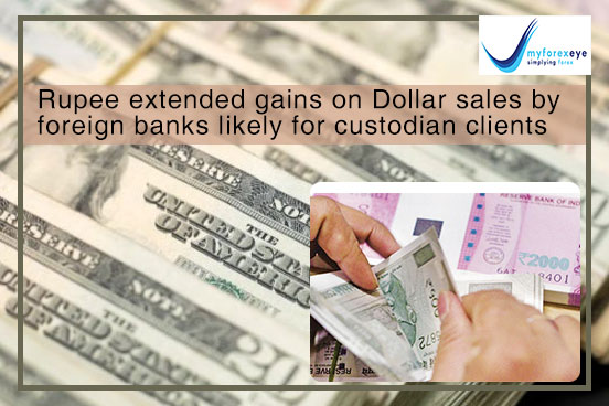 Rupee extended gains on Dollar sales by foreign banks likely for custodian clients