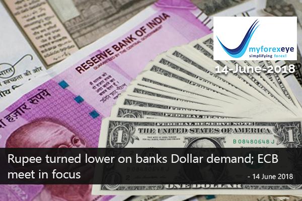 Rupee turned lower on banks Dollar demand; ECB meet in focus