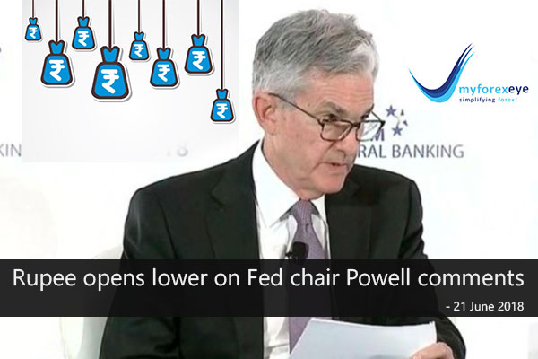Rupee opens lower on Fed chair Powell comments