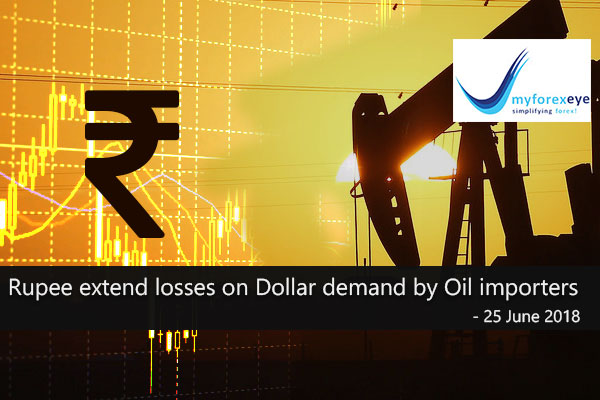 Rupee extend losses on Dollar demand by Oil importers
