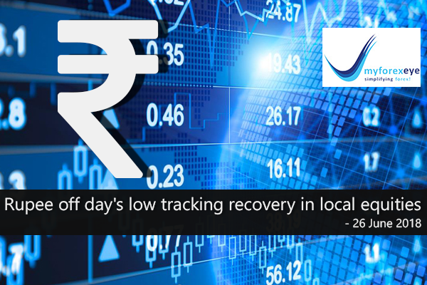 Rupee off day's low tracking recovery in local equities