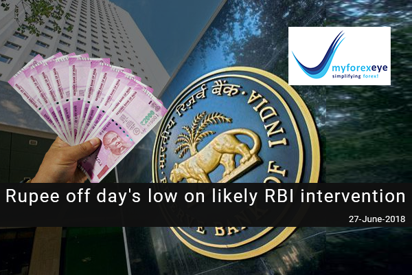 Rupee off day's low on likely RBI intervention