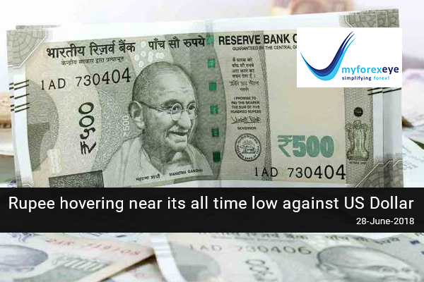 Rupee hovering near its all time low against US Dollar