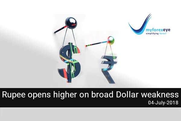 Rupee opens higher on broad Dollar weakness
