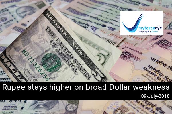 Rupee stays higher on broad Dollar weakness
