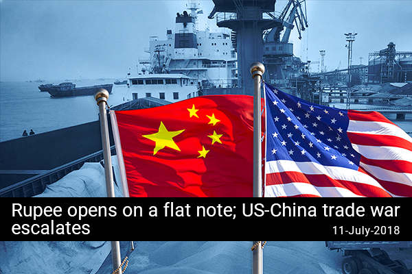 Rupee opens on a flat note; US-China trade war escalates