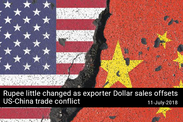 Rupee little changed as exporter Dollar sales offsets US-China trade conflict