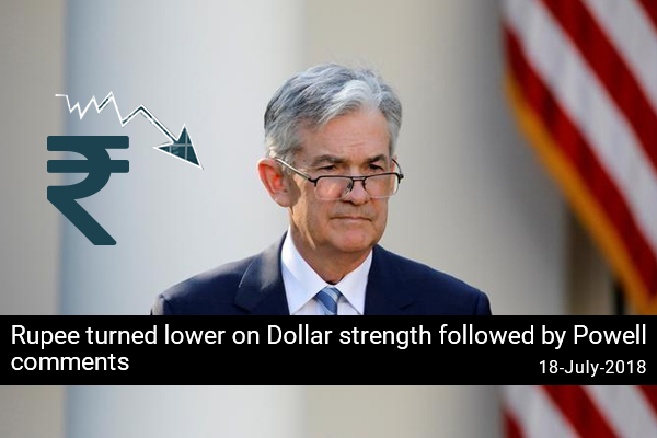 Rupee turned lower on Dollar strength followed by Powell comments