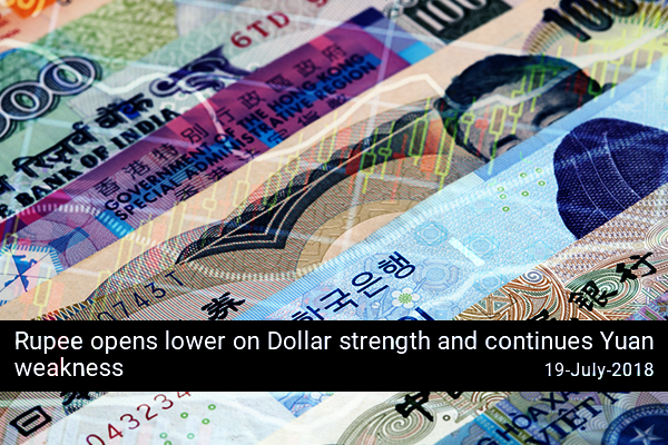 Rupee opens lower on Dollar strength and continues Yuan weakness