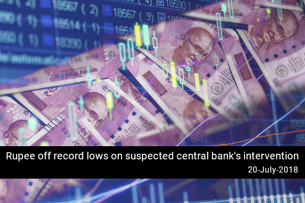 Rupee off record lows on suspected central bank's intervention