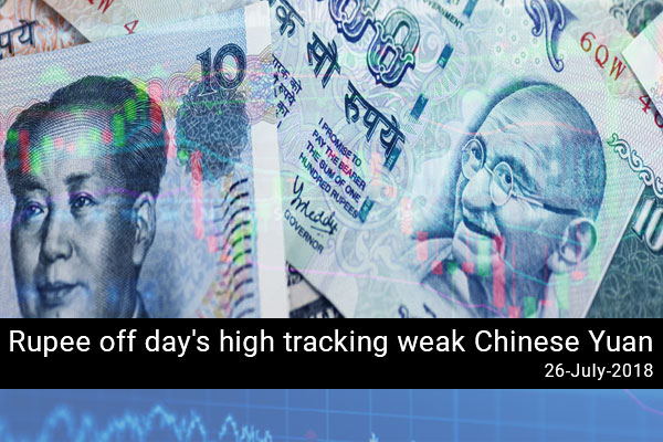 Rupee off day's high tracking weak Chinese Yuan