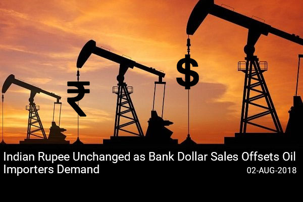 Indian Rupee Unchanged as Bank Dollar Sales Offsets Oil Importers Demand
