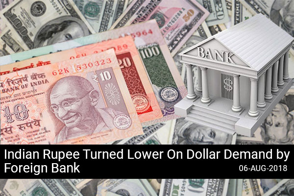 Indian Rupee Turned Lower On Dollar Demand by Foreign Bank