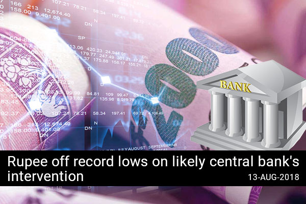 Rupee off record lows on likely central bank's intervention
