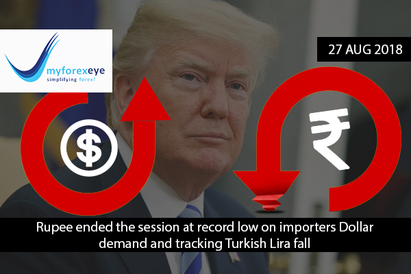 Rupee ended the session at record low on importers Dollar demand and tracking Turkish Lira fall