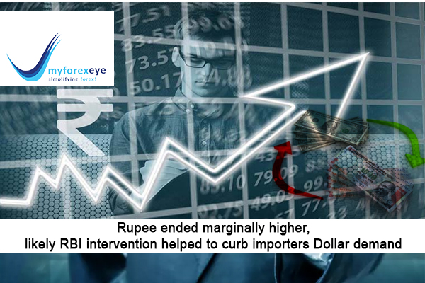 Rupee ended marginally higher, likely RBI intervention helped to curb importers Dollar demand