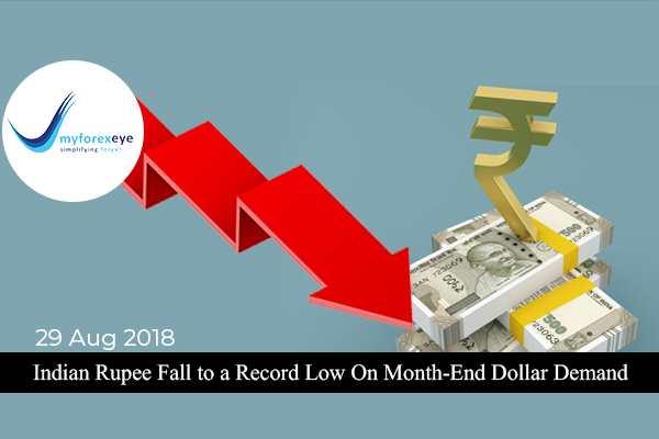 Indian Rupee Fall to a Record Low On Month-End Dollar Demand