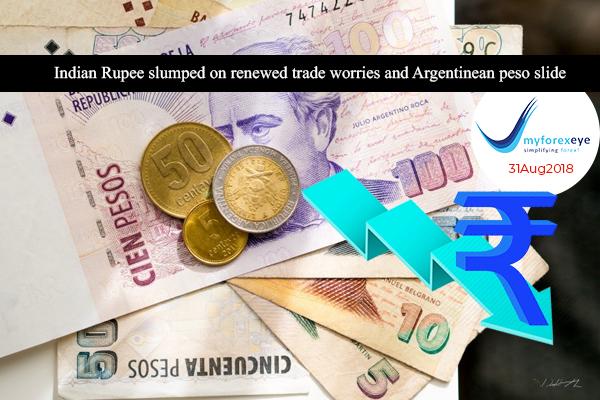 Indian Rupee slumped on renewed trade worries and Argentinean peso slide