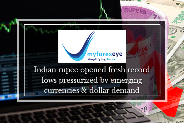 Indian rupee opened fresh record lows pressurized by emerging currencies & dollar demand