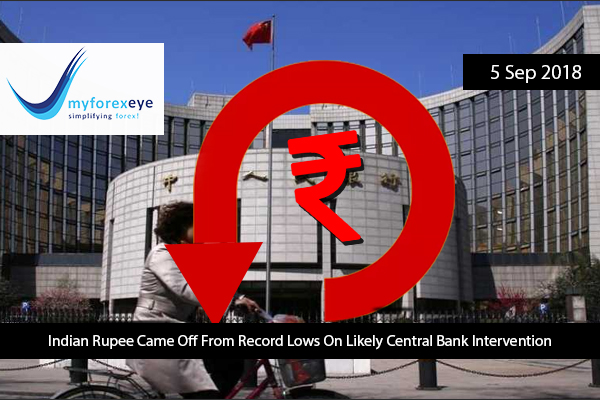 Indian Rupee Came Off From Record Lows On Likely Central Bank Intervention