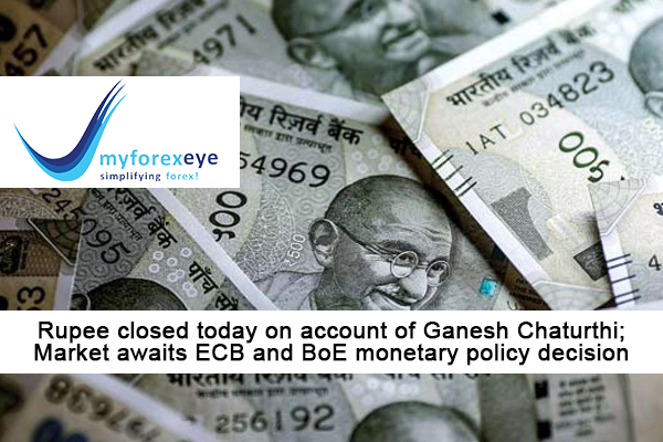 Rupee closed today on account of Ganesh Chaturthi; Market awaits ECB and BoE monetary policy decision