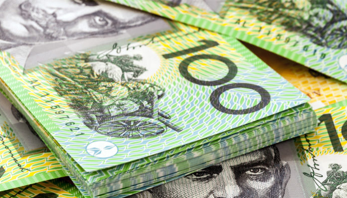The Australian dollar touched a four-week high
